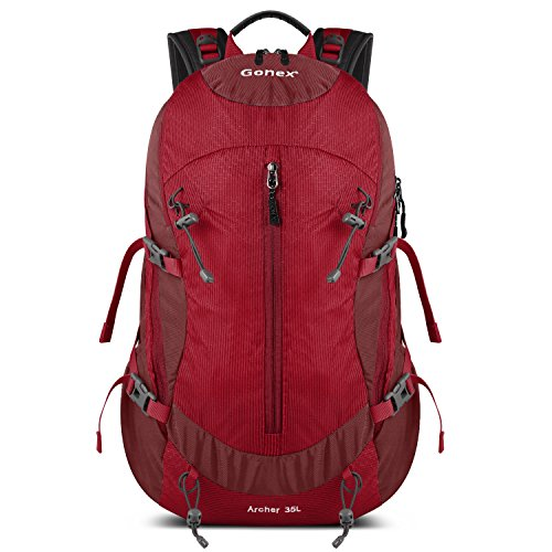 Gonex 35L Hiking Backpack Mountaineering Bag, Rain Cover Included Red