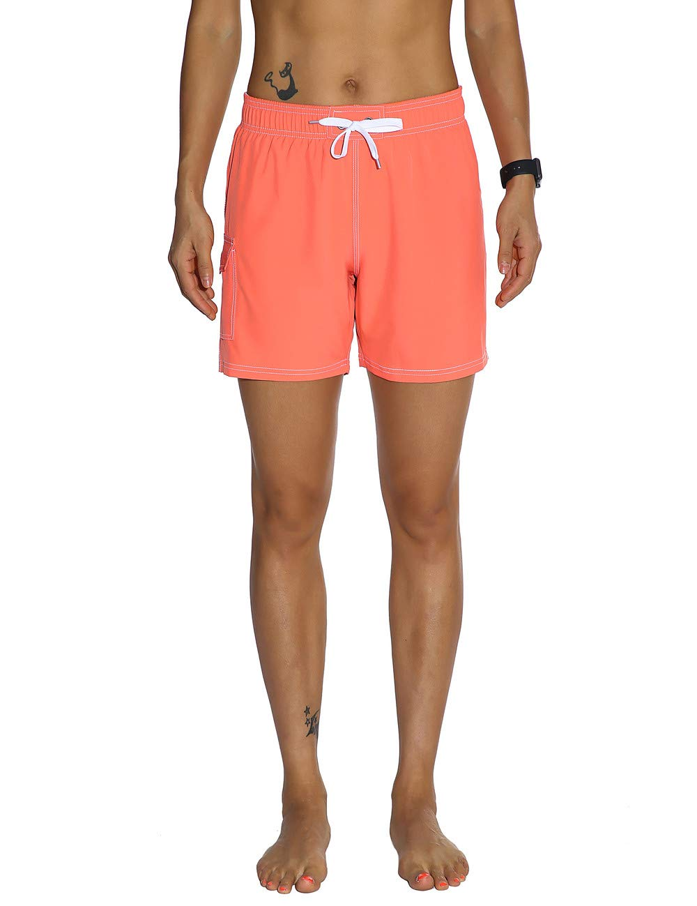 orange(Side Velcro Pocket) Unitop Womens Bathing Boardshorts Swim Shorts Quick Dry with Mesh Lining