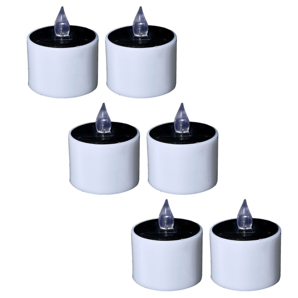Fityle Flameless Solar Tealight Candles for Camping, Home, Window, Yard Decor in White by Fityle (Image #7)