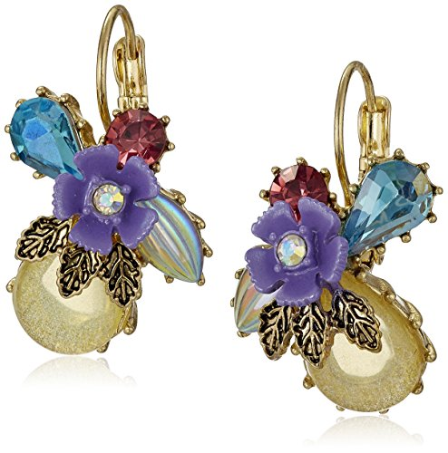 Betsey Johnson Spring Ahead Mixed Flower and Stone Cluster Drop ()