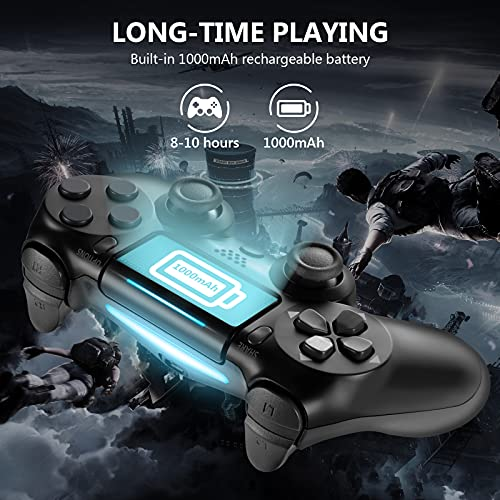 Wireless Controller for PS4, Tiiroy Gamepad Remote Joystick for Playstation 4/Pro/Slim Game Console with 1000mAh Rechargeable Battery, Double Vibration and Audio Function (Black)