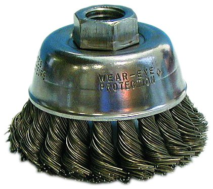 """Osborn 33459 High Speed Small Grinder Knot Wire Cup Brush with Steel Color Arbor Hole Nut, Steel Bristle, 14000 RPM, 2-3/4"""" Diameter, 0.02"""" Fill Diameter"""