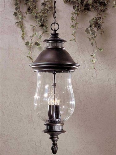 Minka Great Outdoors 8904-94 Newport - Four Light Outdoor Chain Hung Lantern, Heritage Finish with Clear Optic Glass