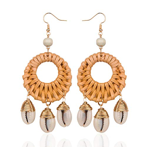 Round Shell Rattan Earrings for Women Girls Handmade Straw Wicker Braid Drop Dangle Earring Lightweight Geometric Statement Earrings (Round-coffee)