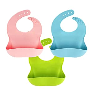 3 Pack Silicone Baby Bib for Babies & Toddlers (6-72 Months), Waterproof, BPA Free, Green Pink and Blue, Easy Wipe Clean