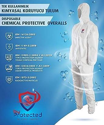 Tuta protettiva chimica monouso unisex Isolamento generale EN14126 Tute agente infettivo Tipo 5//6 X Large
