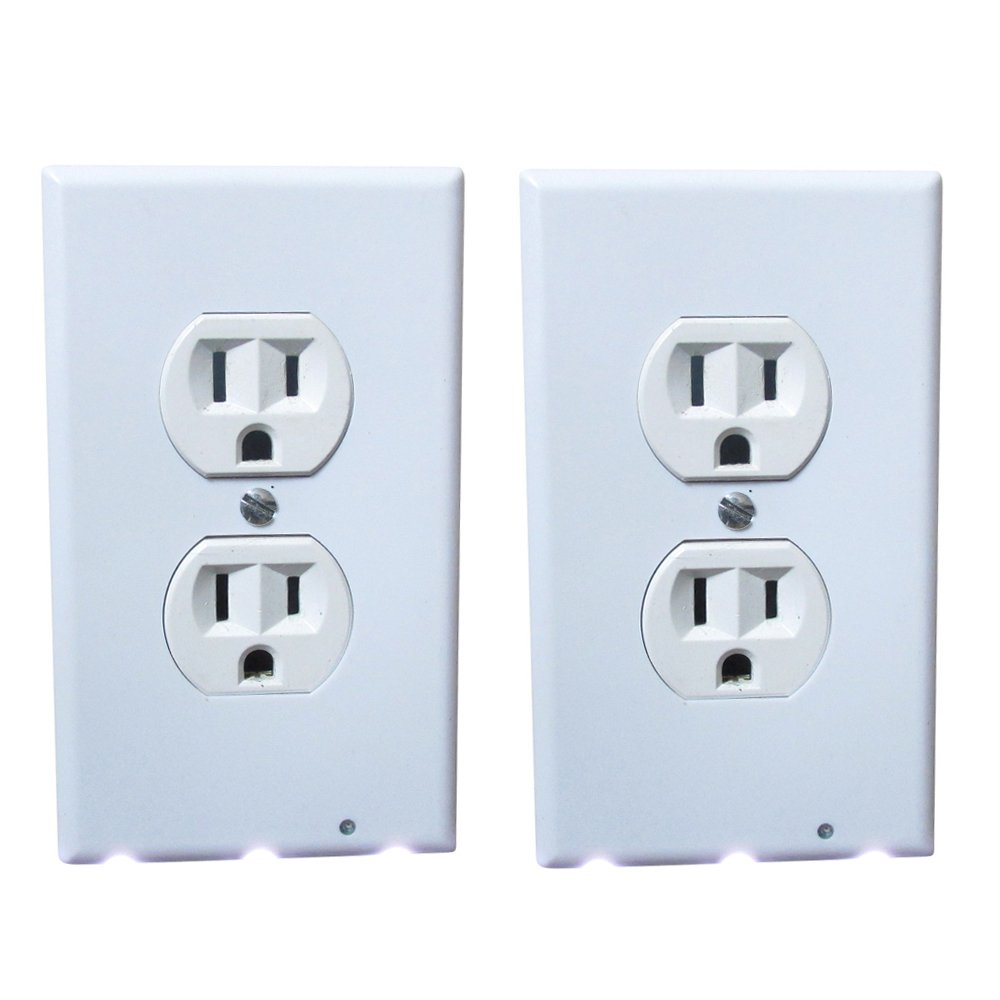 2 Pack -Outlet Wall Plate - Power Cover with LED Night Light – No Wires Easy Snap On Wall Outlet Light Bulb – Duplex Outlet Cover Plate Lights Hallway, Bathroom, Bedroom & Kids Room