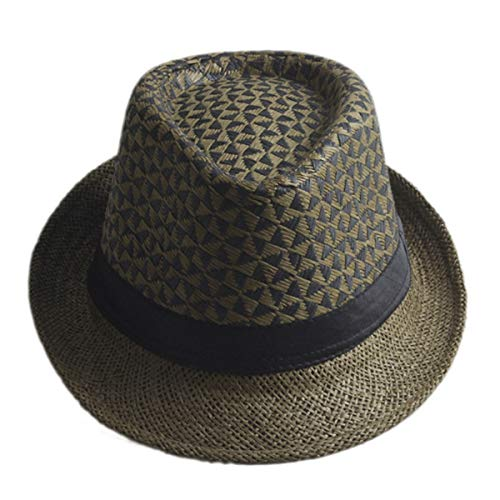 - KSDJSA Retro Women Straw Sun Hat Boho Beach Fedora Hat Sunhat Trilby Panama Hat Coffee