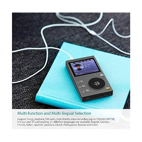 MP3 Player, 8GB Portable Sports Music Player with FM Radio Text Reading Bluetooth Function All-Metal Structure Extremely Long Battery Life 5