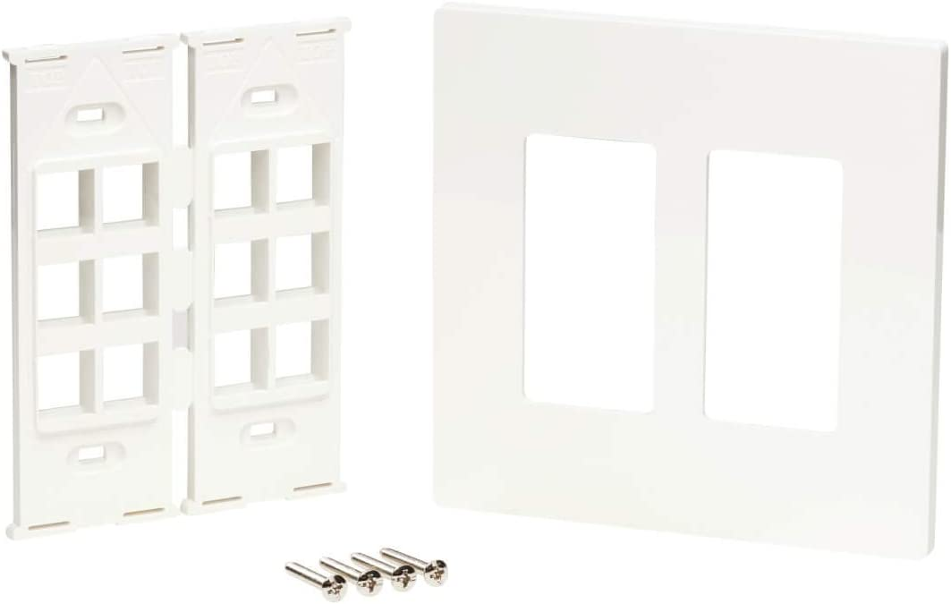 2-Gang Faceplate N080-212 Adaptable Tripp Lite 12-Port Universal Keystone Double-Gang Wall Plate TAA White