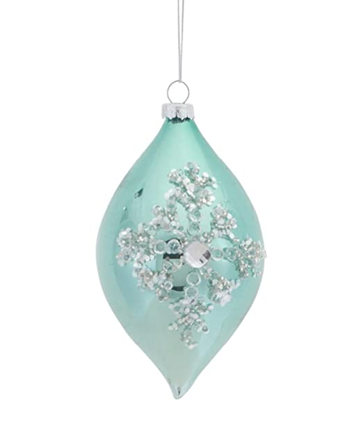 Christmas Tablescape Decor - Silent Luxury Pale Green Jeweled Icy Snowflake Glass Finial Christmas Ornament