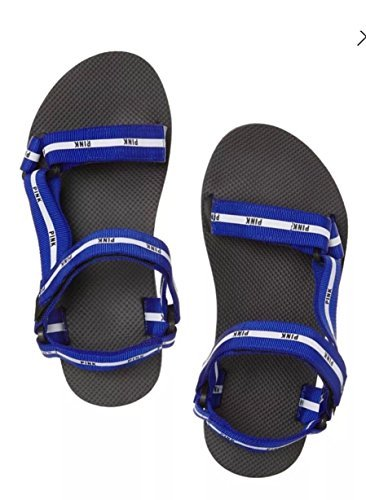 Victorias Secret VS PINK Velcro STRAP SPORT Slides Sandals Color Blue (Medium) - Pink Strap Sandals