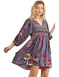 Floral Print Peasant Dress Tunic Plus Size