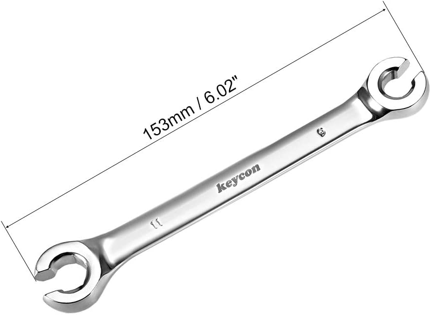 9mm x 11mm Metric Double Open End 2 Pcs sourcing map Flare Nut Wrench