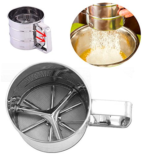 LinaLife FDA One-Handed Baking Stainless Steel Shaker Sieve Cup Mesh Crank Flour Sifter with Measuring Scale Mark for Baking Sugar Icing Chocolate Powder Cocoa Cheese Pastry Kitchen Tool