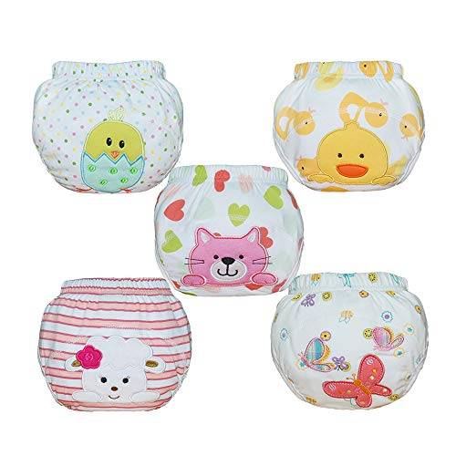 Babyfriend Baby Girls' Reusable 5 Pack Toilet Training Pants Nappy Underwear Cloth Diaper TP5-003 ()