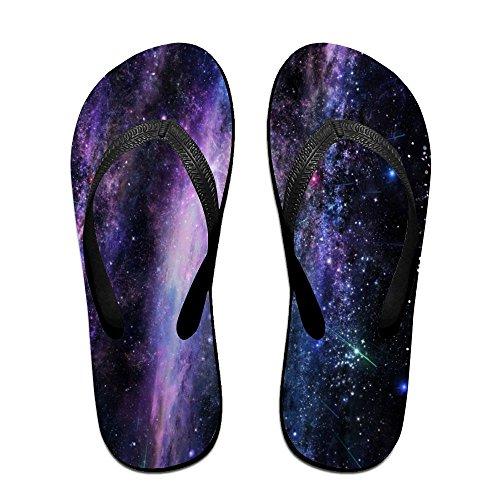 Unisexe Art Étoile Ciel Été Sangle Tongs Plage Pantoufles Plates-formes Sandale Pour Hommes Femmes Noir