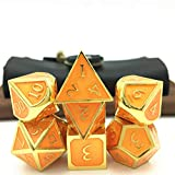 Momostar Metal Polyhedral Dice Set, Delicate Leatherette Box & Cleaning Cloth. Great for RPG, D&D. - Golden & Orange Background.