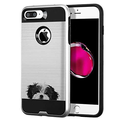 Apple iPhone 7 Plus 2016 / iPhone 8 Plus 2017 5.5 inch Case, Fincibo (TM) Dual Layer Brushed Hybrid Hard Protector Cover Anti Shock TPU Silicone Skin, Black White Shih Tzu (Black White Shih Tzu)