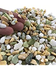Voulosimi 3.5 Pounds Natural Decorative Rocks Mixed Pebbles Gravel, with White, Green and Yellow Pastel Accents Decorative Stones for Plant Aquariums, Landscaping, Vase Fillers
