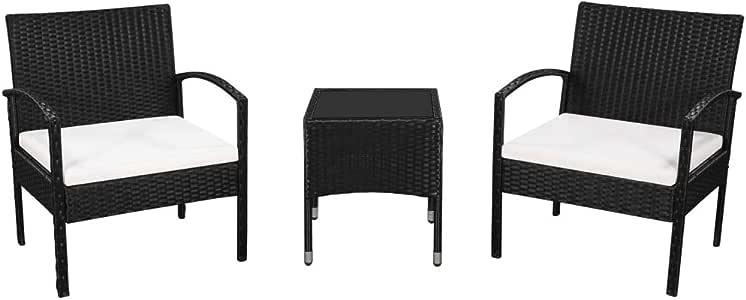 Tidyard Juego de Muebles Exterior para Jardin o Patio de Ratán Sintético con 2 Sillas, 1 Mesa de Centro y 2 Cojines Negro y Blanco Crema: Amazon.es: Hogar