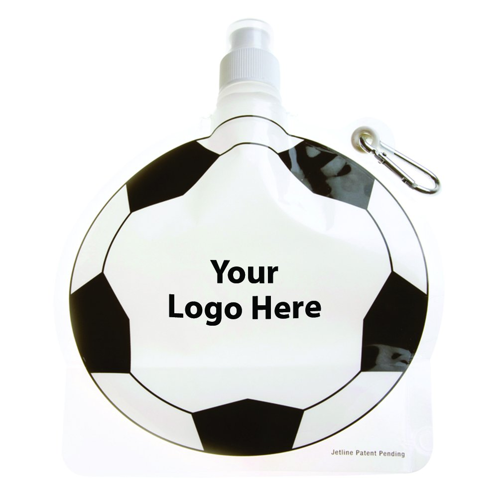 HydroPouch! 24 Oz. Soccer Ball Collapsible Water Bottle Patented - 100 Quantity - $3.40 Each - PROMOTIONAL PRODUCT / BULK / BRANDED with YOUR LOGO / CUSTOMIZED