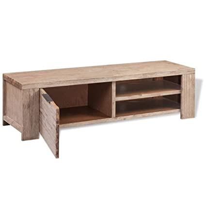 Amazoncom Clever Market Wood Tv Stand Solid Brushed Tv Table With