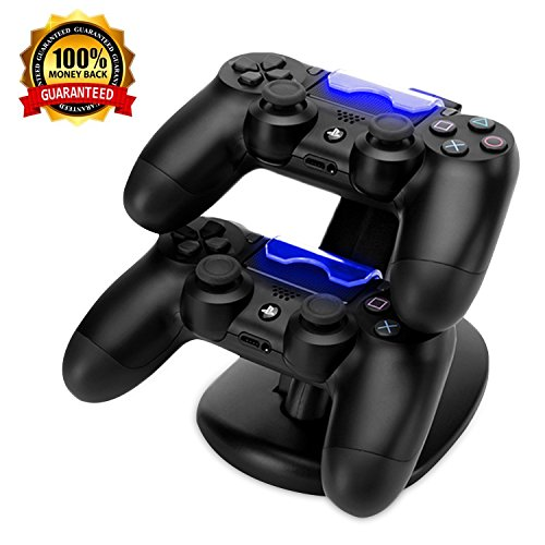 PS4 Controller Charger & Accessories, AOJOYS Playstation 4/PS4 Pro/PS4 Slim Controller Charging Station Dock Stand with USB Charging Cable, Black