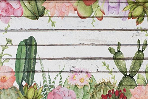 (LFEEY 7x5ft Watercolor Cactus Painting Backdrop for Photos Happy Birthday Party Events Decor Wallpaper Cacti Flos on White Wood Board Photography Background Cloth Portrait Photo Studio Props)