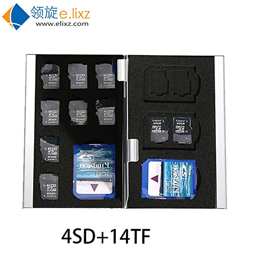 218# 18 in 1 Aluminum Storage Box Bag Memory Card Case Holder Wallet (Silver) by E.lixz