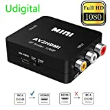 RCA to HDMI, AV to HDMI,Udigital 1080P Mini RCA Composite CVBS AV to HDMI Video Audio Converter Adapter Supporting PAL/NTSC with USB Charge Cable for PC Laptop Xbox PS4 PS3 TV STB VHS VCR Camera DVD