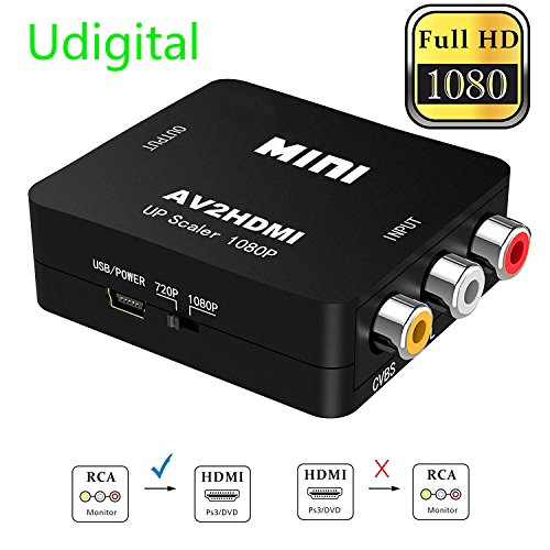 RCA to HDMI, AV to HDMI,Udigital 1080P Mini RCA Composite CV