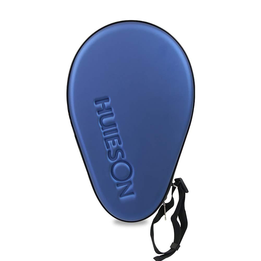 Yeshai3369 - Funda de Piel sintética para Raqueta de Tenis de Mesa, Pala de Ping Pong, Funda de Transporte – Protege la Raqueta y Las Pelotas con Cierre de Cremallera, Azul