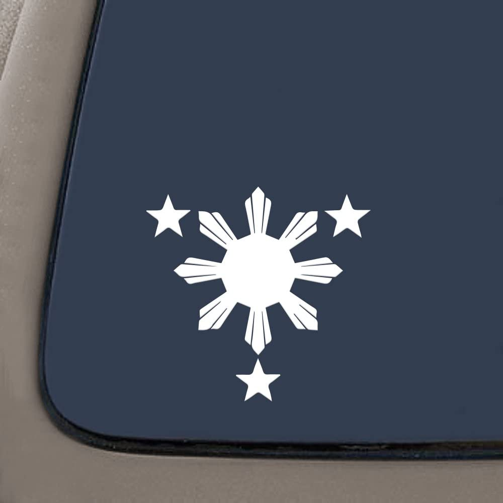 "NI168 Philippines Flag 1 Sun and 3 Stars Logo. Filipino Decal/sticker for Car Window, Laptop, Motorcycle, Walls, Mirror and More. (6"" Height