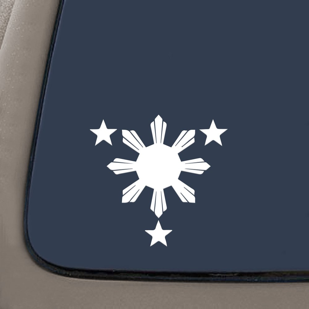 Motorcycle 6 Height| White Mirror and More. Filipino Decal//sticker for Car Window Walls NI168 Philippines Flag 1 Sun and 3 Stars Logo Mirror and More. CMI 6 Height| White Laptop