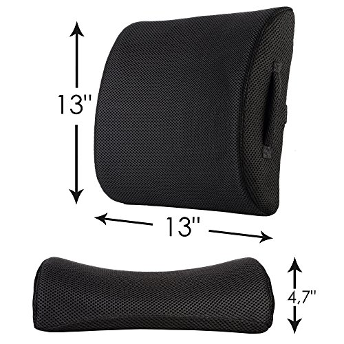 authentic lower back lumbar support pillow instant back pain relief for office chairs car. Black Bedroom Furniture Sets. Home Design Ideas