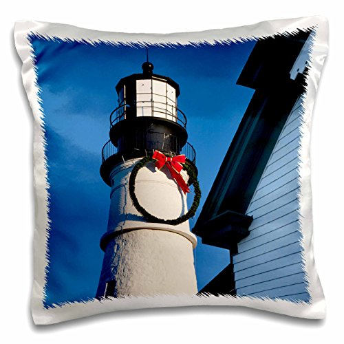 3dRose Christmas, Portland Head Lighthouse, Maine, USA - US20 BJN0013 - Brian Jannsen - Pillow Case, 16 by 16-inch (pc_144526_1)