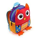 IGNPION Nursery Kids Backpacks Toddle Children School Bag Zoo Lunch Bag 3D Cute Animal Cartoon Preschool Rucksack (1-5 Years Old) (Owl)