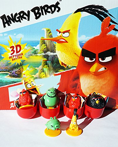 konfitreid 5psc Random Angry Birds from Kinder Surprise (1inch) in Shells Eggs Party FavorToy Filled Easter Mini Figures Actions tv