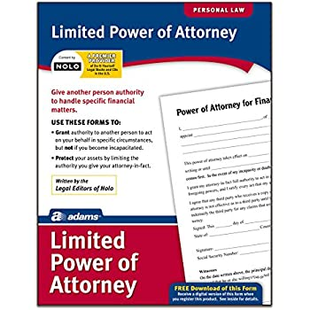 Amazon.Com : Adams Limited Power Of Attorney, Forms And