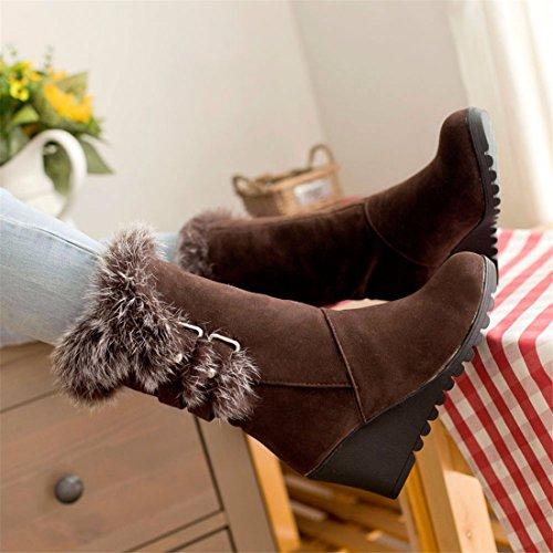 Wedge heel, cotton boots, medium boots, warm winter boots Brown