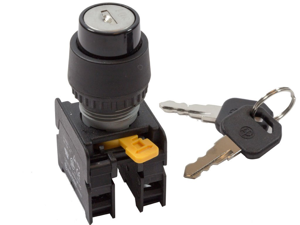 Alpinetech KS-22 22mm Key Selector Switch Maintained 2NO 3 Positions