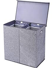 Superjare Double Laundry Hamper/Sorter with Removable Liners and Magnetic Lid, Collapsible Clothes Basket with Built-in Handles for Easy Carrying, 2 Dividers, Linen Gray