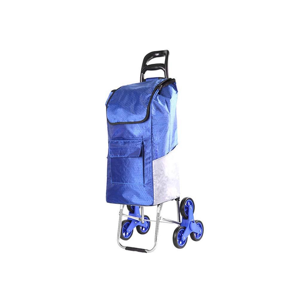 YQCS●LS 高齢者ショッピングトロリー - ポータブル小型カート - 旅行 - 大容量 - 2ラウンド - 折りたたみ式 - 荷物食料品カート - 青 B07SQWTGSB