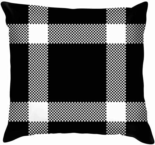 shizh Negro Blanco Pixel Plaid Belleza Moda Algodón Lino Hogar ...