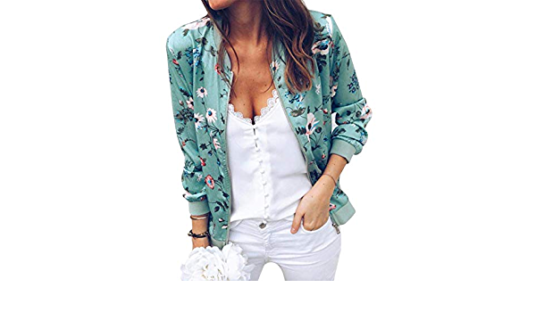 Rainlin Womens Casual Floral Print Zip Up Bomber Jacket Long Sleeve Stand Collar with Pocket Coat Outwear