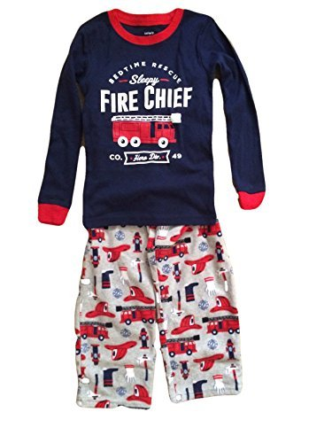 Carter's Boys' 4-12 2 Piece Fire Chief Cotton and Fleece Pajamas (100 Cotton Fleece)