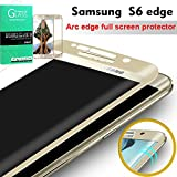 Samsung Galaxy S6 Edge Screen Protector, ELEKMATE® Full Tempered Glass Screen Protector for Samsung S6 Edge [3D Curved Full Screen Protection] [Retail Package] (Gold)
