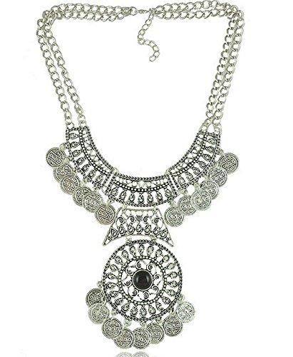 Gigamax(TM) Bohemian Gypsy Ethnic Tassels Coin Statement Necklace Women Max Gypsy Colares Necklaces Maxi Colar Turco Bijouterias Femininos [ B ]