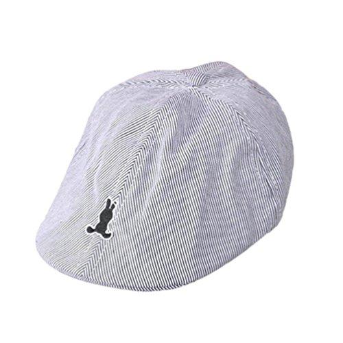 TRENDINAO Kids Infant Boy Girl Flat Cap Stripe Cotton Beret Hat Newsboy Casquette Flat Cap